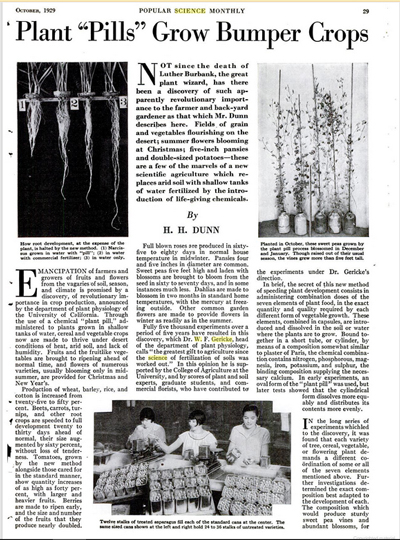 Plant Pills Grow Bumper Crops, Popular Science Monthly, October, 1929 | Hydroponics History