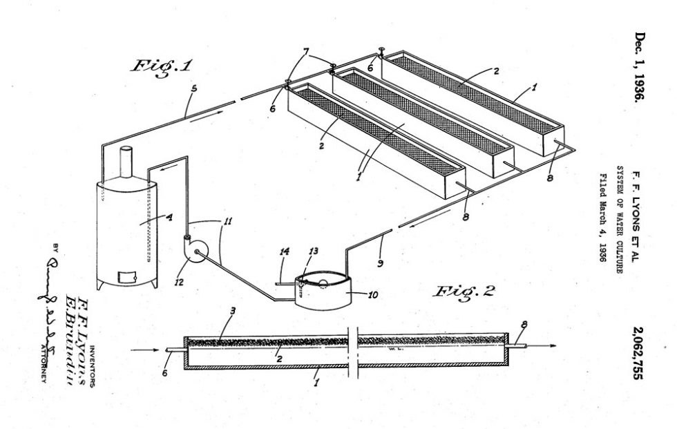 Brundin and Lyon System of Water Culture Patent Drawing